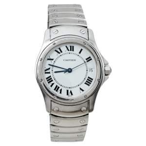 ساعة يد نسائية كارتييه سانتوس روند 1920 1 ستانلس ستيل بيضاء 33 مم