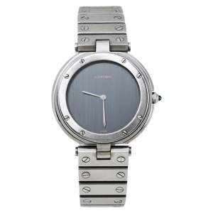 Cartier Grey Stainless Steel Santos Round Women's Wristwatch 32MM