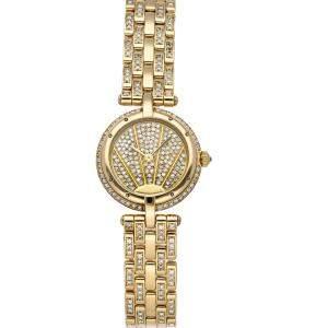 ساعة يد نسائية كارتييه بانثيرWF5016FJ ذهب أصفر عيار 18 ألماس شامبانيا 23.5 مم