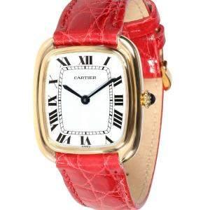 Cartier Silver 18K Yellow Gold Gondole 17010 Women's Wristwatch 26 MM