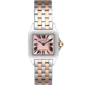 Cartier Pink MOP 18K Rose Gold Stainless Steel Santos Demoiselle W25074Y9 Women's Wristwatch 22MM