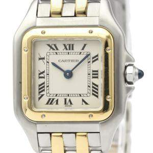 Cartier White 18K Yellow Gold And Stainless Steel Panthere De Cartier Quartz Women's Wristwatch 22 MM
