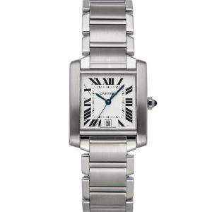 Cartier Silver Stainless Steel Tank Francaise W51002Q3 Women's Wristwatch 32 x 28 MM