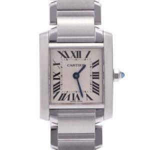 Cartier Ivory Stainless Steel Tank Francaise SM W51008Q3 Quartz Women's Wristwatch 20 MM