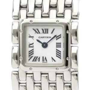 Cartier MOP Stainless Steel Panthere Ruban Quartz W61001T9 Women's Wristwatch 21 MM
