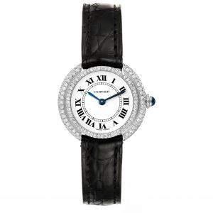 Cartier White Diamonds 18K White Gold Vendome W15071G8 Women's Wristwatch 26 MM