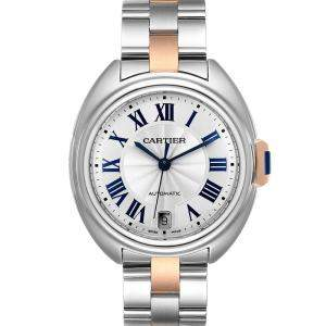 Cartier Silver 18K Rose Gold And Stainless Steel Cle Automatic W2CL0003 Women's Wristwatch 35 MM