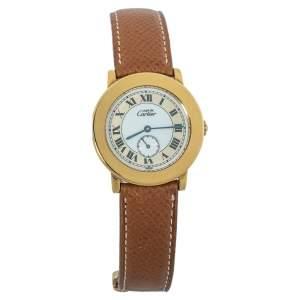 ساعة يد نسائية كارتييه ماست دو كارتييه 1810 1 جلد وفضة مطلية ذهب بيضاء 33 مم
