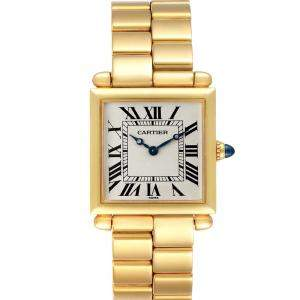 Cartier White 18k Yellow Gold Tank Obus Prevee 1630 Women's Wristwatch 24.5 MM