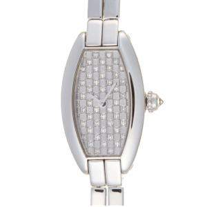 Cartier Silver Diamonds 18K White Gold Mini Tonneau WJ2002W3 Women's Wristwatch 16 MM