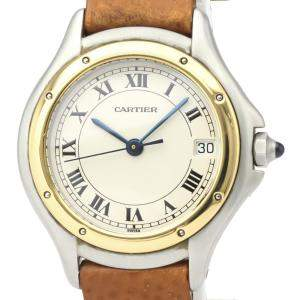 Cartier Silver 18K Yellow Gold And Stainless Steel Panthere Cougar Quartz Women's Wristwatch 26 MM