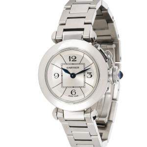 Cartier Silver Stainless Steel Miss Pasha Quartz W3140007 Women's Wristwatch 27 MM