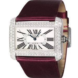 Cartier Silver 18K White Gold Tank Divan WA301370 Women's Wristwatch 38 MM