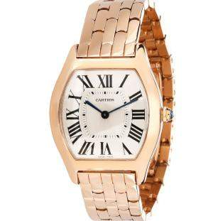 ساعة يد نسائية كارتييه تورتو W1556366 ذهب وردي عيار 18 فضية 32مم