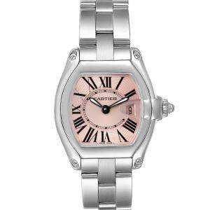 Cartier Pink Stainless Steel Roadster W62017V3 Women's Wristwatch 36 x 30 MM