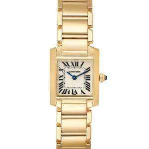 Cartier Silver 18K Yellow Gold Tank Francaise Quartz W50002N2 Women's Wristwatch 20 x 25 MM