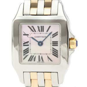 Cartier Pink MOP 18K Rose Gold And Stainless Steel Santos Demoiselle Quartz W25074Y9 Women's Wristwatch 20 MM