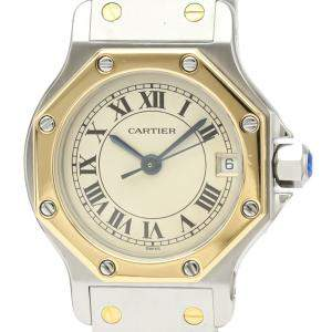 Cartier Silver 18K Yellow Gold And Stainless Steel Santos Octagon Quartz 187903 Women's Wristwatch 24 MM