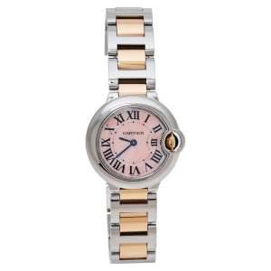 Cartier Mother Of Pearl 18K Rose Gold & Stainless Steel Ballon Bleu 3009 Women's Wristwatch 28 mm