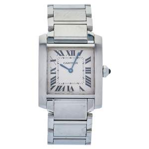 Cartier Silver Stainless Steel Tank Francaise 2301 Women's Wristwatch 25 mm