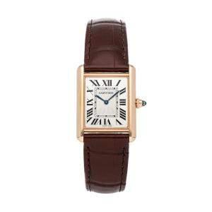 Cartier Silver 18K Rose Gold Tank Louis De Cartier WGTA0011 Women's Wristwatch 33 x 25.5 MM
