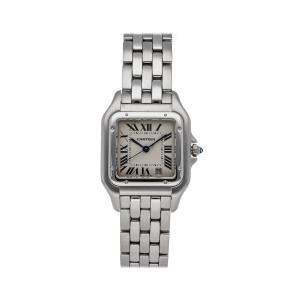 Cartier Silver Stainless Steel Panthere W25054P5 Women's Wristwatch 27 x 36 MM