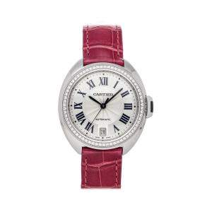 Cartier Silver Diamonds 18K White Gold Cle De Cartier WJCL0014 Women's Wristwatch 35 MM