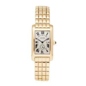 Cartier Silver 18K Yellow Gold Tank Americaine W2600301 Women's Wristwatch 24 x 40.5 MM