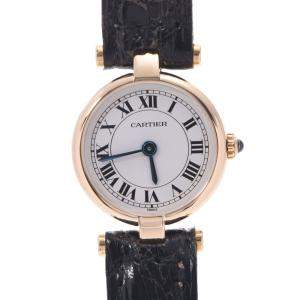 Cartier White 18k Yellow Gold Mini Vendome Quartz Women's Wristwatch 19 MM