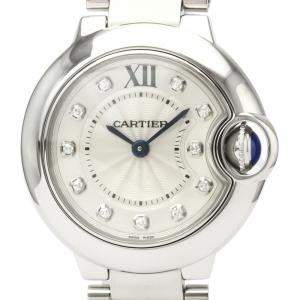 Cartier Silver Diamond Stainless Steel Ballon Bleu WE902073 Women's Wristwatch 28 MM