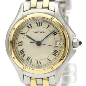 Cartier Silver 18K Yellow Gold And Stainless Steel Panthere Cougar 187906 Women's Wristwatch 26 MM