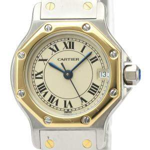 Cartier Silver 18K Yellow Gold And Stainless Steel Santos Octagon Quartz 187903 Women's Wristwatch 24 MM