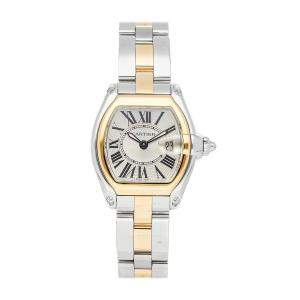 Cartier Silver 18K Yellow Gold And Stainless Steel Roadster W62026Y4 Women's Wristwatch 36.5 x 30.5 MM