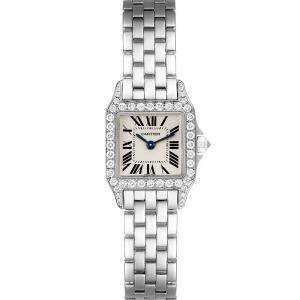 Cartier Silver Diamonds 18K White Gold Santos Demoiselle WF9005Y8 Women's Wristwatch 24 x 24 MM