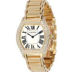 Cartier Silver Diamonds 18K Yellow Gold Tortue 2643 Women's Wristwatch 28 MM
