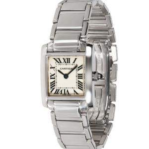 Cartier Silver 18K White Gold Tank Francaise W50012S3 Women's Wristwatch 20 MM