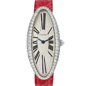 Cartier Silver Diamonds 18K White Gold Baignoire Allongee WB510931 Women's Wristwatch 47 x 21 MM