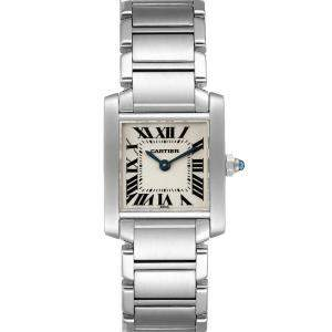 Cartier Silver Stainless Steel Tank Francaise W51008Q3 Women's Wristwatch 25 x 20 MM