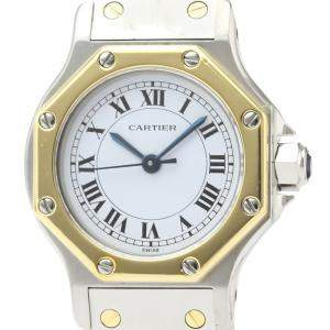 Cartier Silver 18K Yellow Gold And Stainless Steel Santos Octagon Automatic Women's Wristwatch 24 MM