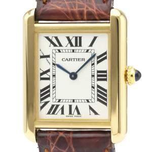 Cartier Silver 18K Yellow Gold Tank Solo W5200002 Quartz Women's Wristwatch 24 MM