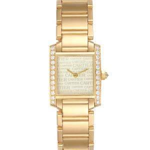 ساعة يد نسائية كارتييه تانك فرانشيسكا WE1023R8 ذهب أصفر عيار18 ماس فضية 20 × 25 مم