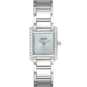 Cartier Blue Diamonds 18K White Gold Tank Francaise 2403 Women's Wristwatch 20 x 25 MM