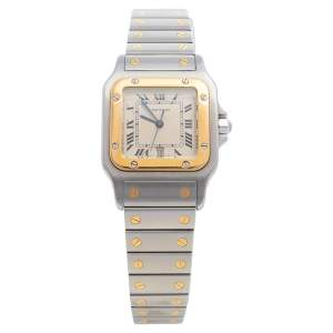 Cartier Cream 18K Yellow Gold And Stainless Steel Santos De Cartier 187901 Women's Wristwatch 29 mm