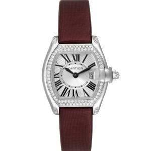 ساعة يد نسائية كارتييه روديستر WE500260 ذهب أبيض عيار18 ماس فضية 31 × 37مم