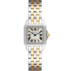 Cartier Silver 18k Yellow Gold And Stainless Steel Santos Demoiselle W25066Z6 Women's Wristwatch 22 x 22 MM
