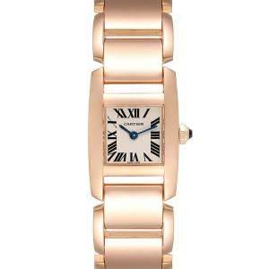 ساعة يد نسائية كارتييه تانكيسيم دبليو640048أتش ذهب وردي عيار 18 فضية 30 × 20 مم