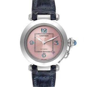 Cartier Pink Stainless Steel Pasha C W3108199 Women's Wristwatch 35 MM