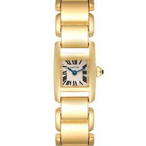 ساعة يد نسائية كارتييه تانكيسيم دبليو650048أتش ذهب أصفر عيار 18 فضية 24 × 16 مم