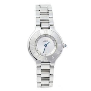 Cartier Silver Stainless Steel Must de Cartier 21 1340 Women's Wristwatch 28 mm