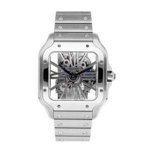 Cartier Silver Stainless Steel Santos de Cartier WHSA0015 Women's Wristwatch 40 MM